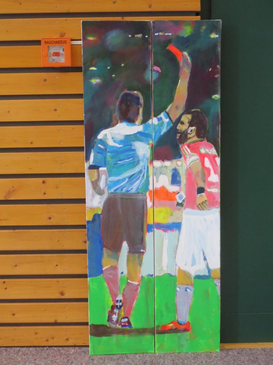 Fußball 4,  150x60 2-teilig   Acryl auf Leinwand