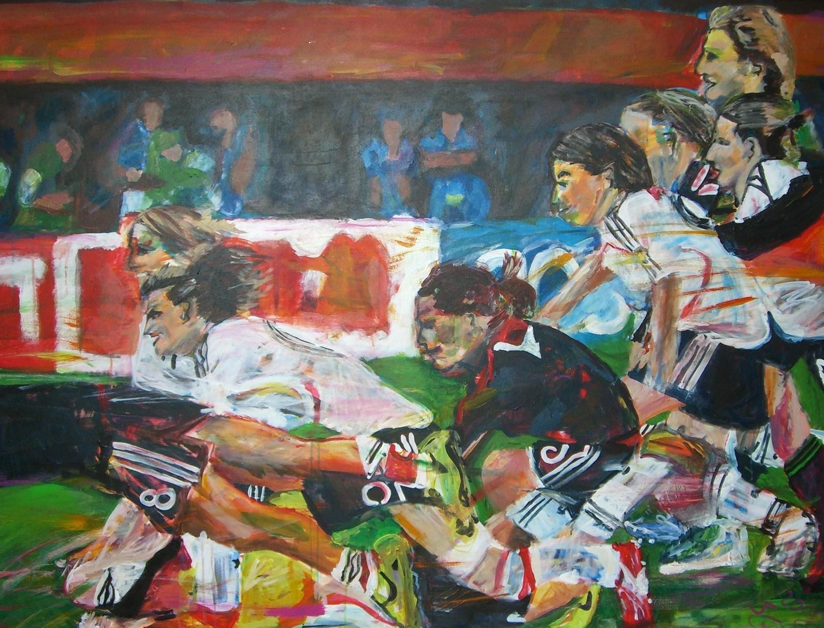 Fußballfrauen,   120x160   Acryl auf Leinwand  (verkauft)