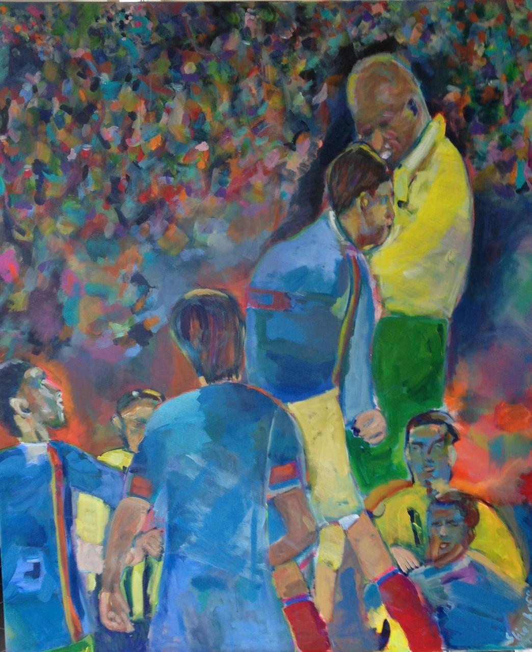 Fußball 2,   120x140   Acryl auf Leinwand