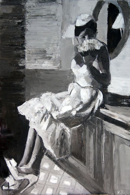 Lady in the bathroom, oil on canvas 120 x 80 cm 2015