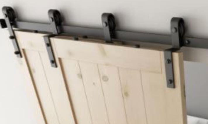 Kast schuifdeurbeslag, schuifdeurrail kast, dubbele schuifdeur aan dezelfde schuifrail,  dubbel schuifdeursysteem, overlappende deuren