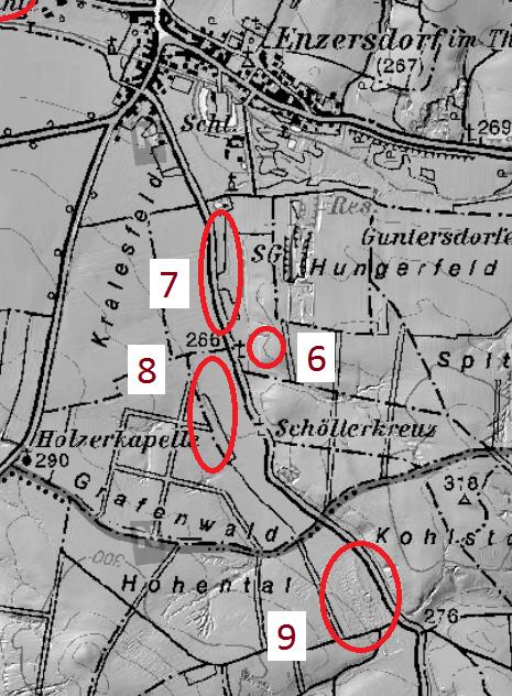 Ausschnitt aus der Wüstungs-Übersichtskarte: Diese Siedlungsbereiche könnten zusammengehört haben
