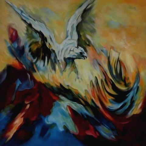 Aguila  -  Olieverf op doek  80 x 80 cm