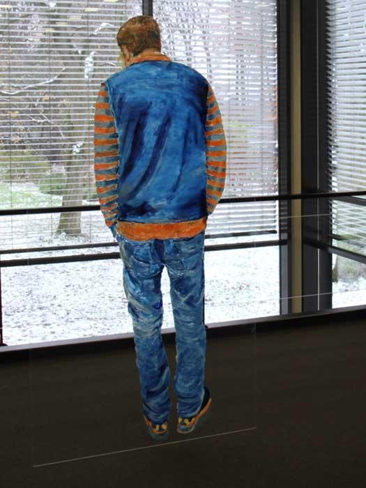 Der Betrachter 200x100 cm Öl auf Kunstglas 2017 (Ausstellungsansicht)