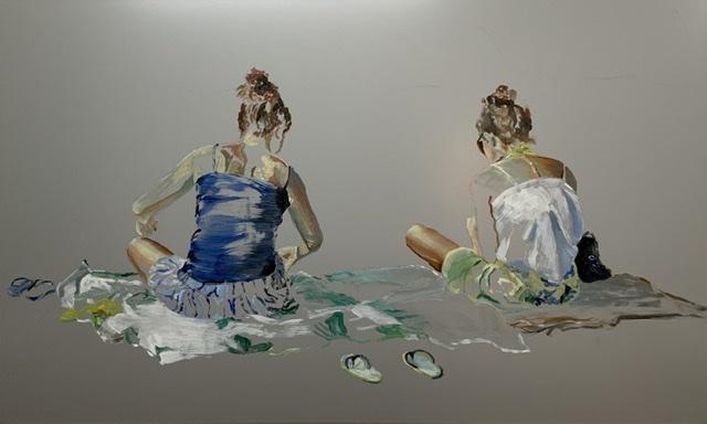 Lisa und Sarah, 60 x 100, Öl auf Aludibond 2019