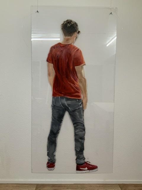 Pascal, 200 x 100 cm, Öl auf Kunstglas 2019 (Ausstellungsansicht)