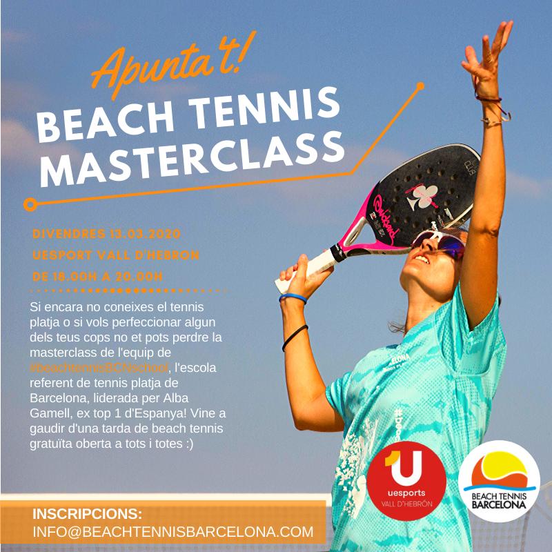 Apúntate el viernes 13 de marzo en la agenda, para disfrutar de una masterclass de lujo con #beachtennisBCNschool! gratuita y abierto a tod@s los que quieran conocer o perfeccionar su tenis playa!