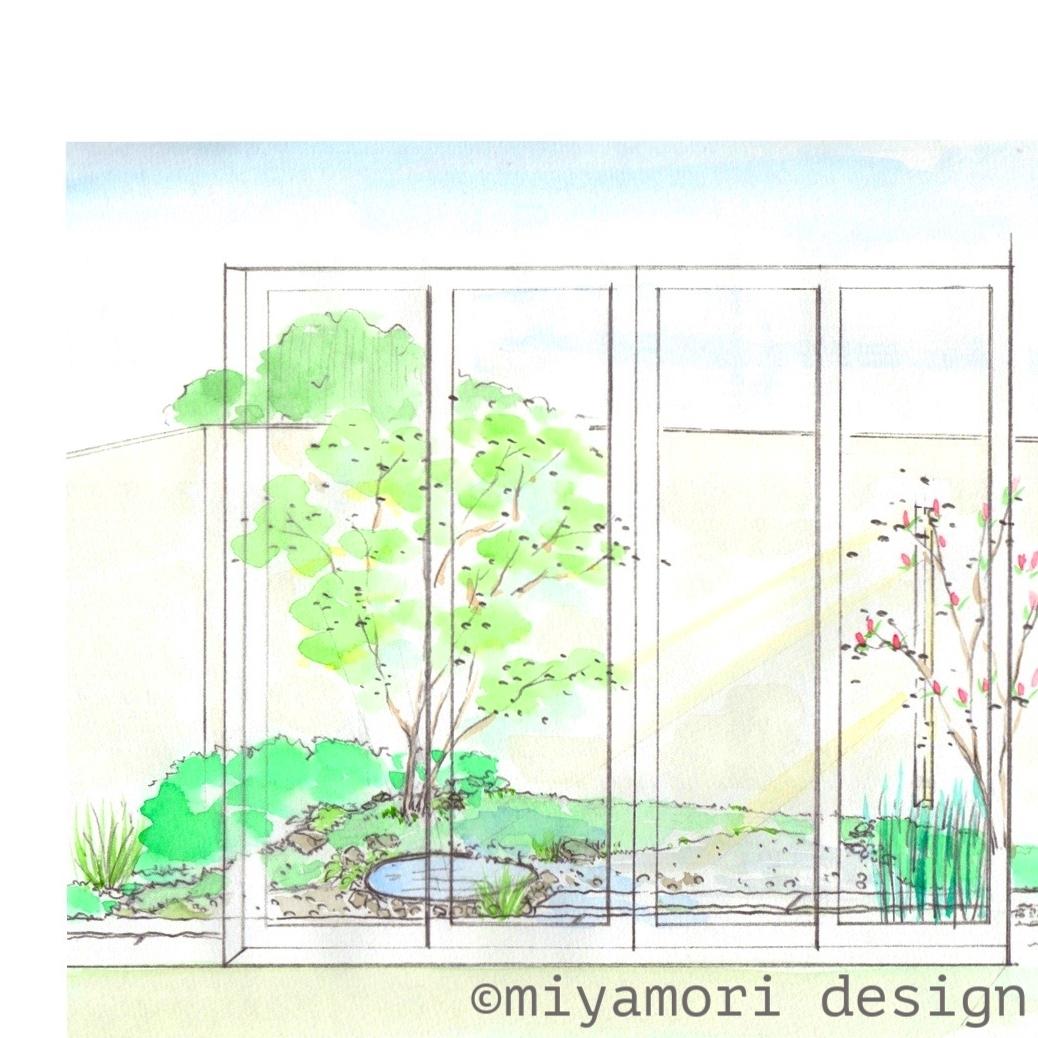 和室前イメージスケッチ©miyamoridesign