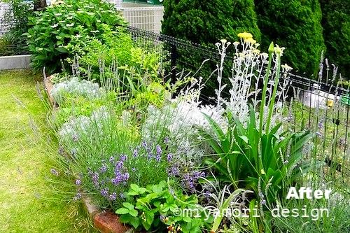 南向きの庭にある花壇の植栽デザイン