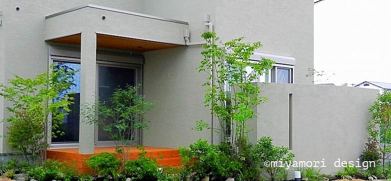 リビング外の様子:室内からの眺めは菱和ホーム様のモデルハウスにてご覧下さい©miyamoridesign