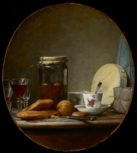 Jean-Siméon Chardin « Le bocal d'abricots » réalisée en 1758, conservée au Musée des Beaux-Arts de l'Ontario, Toronto