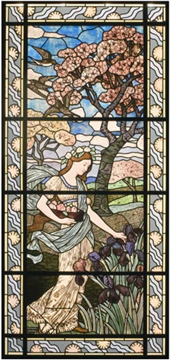 Le Printemps, vitrail conçu par l'artiste Eugène Grasset et réalisé par l'artisan verrier Félix Gaudin, en 1894.