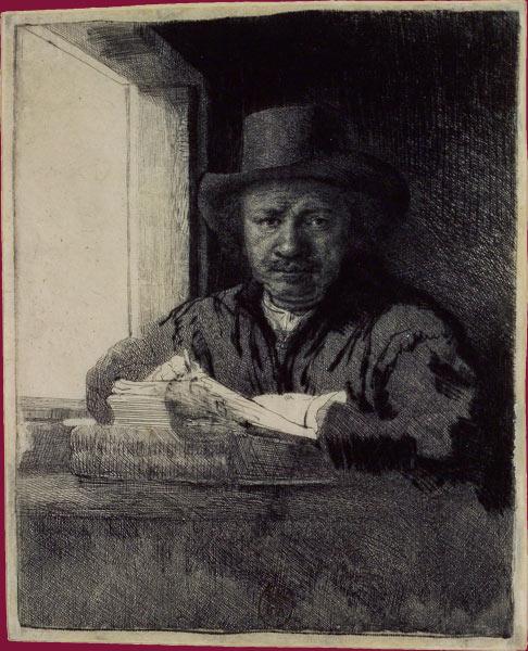 Rembrandt gravant ou dessinant près d'une fenêtre, eau-forte, pointe sèche et burin,, BnF.