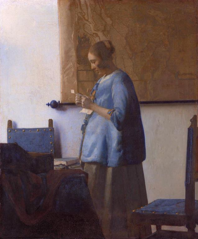 La Femme en bleu lisant une lettre, huile sur toile, 46,5 x 39cm;1662-1665.