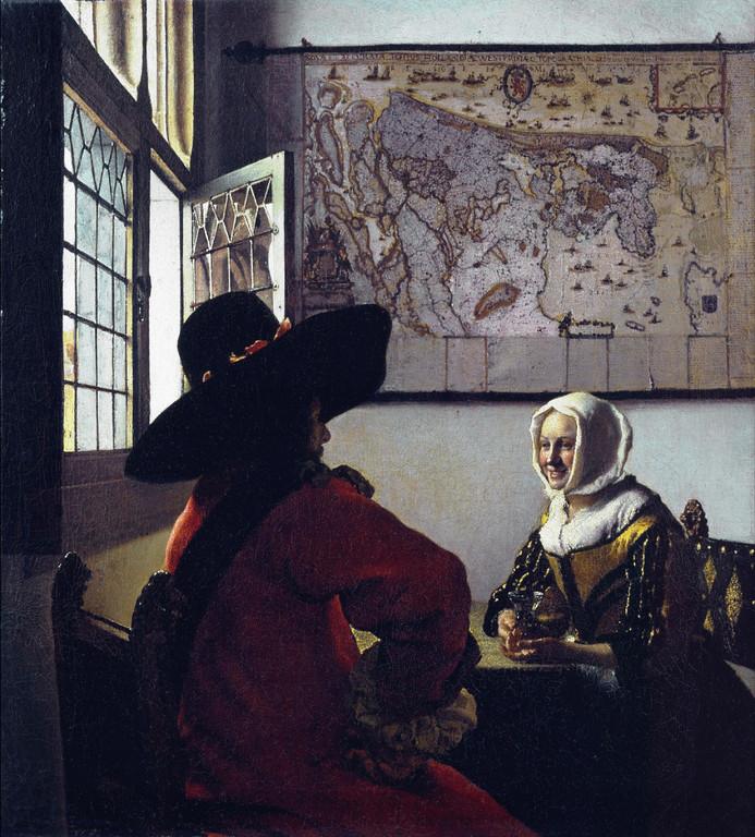 L'Officier et la jeune fille riant, huile sur toile, 50,48 x 46,04cm,1657.