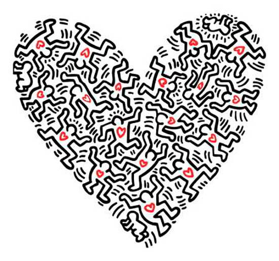 Keith Haring, Heart of figures.