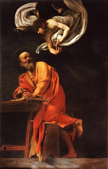 Michelangelo Merisi da Caravaggio dit Le Caravage, 1602, Saint Matthieu et l'Ange,      Huile sur toile, 292 × 186 cm, Chapelle Contarelli, église Saint-Louis-des-Français, Rome.