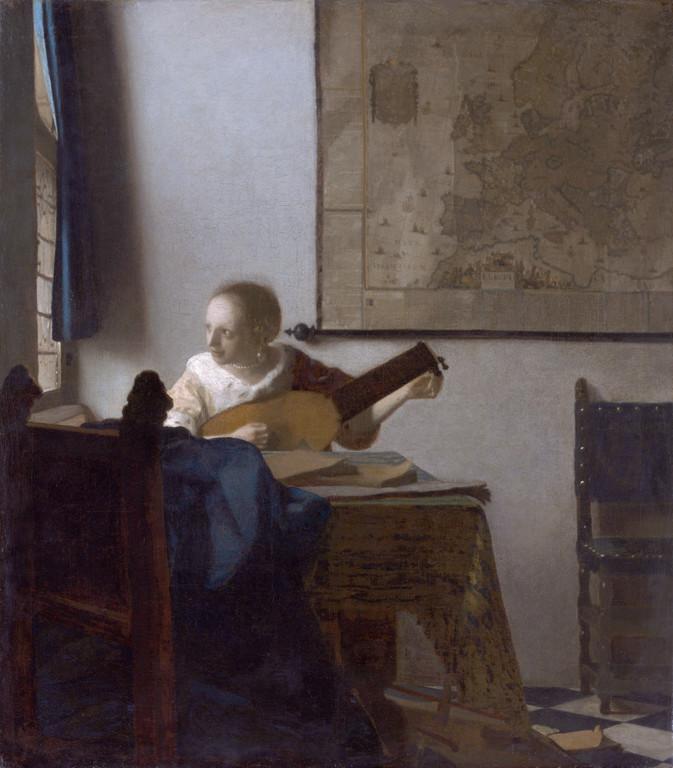 La Femme au luth, huile sur toile, 51,4 x 45,7cm, 1662-1665.