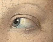 Détail du tableau Le Tricheur à l'as de carreau de Georges de La Tour, Huile sur toile, 106×146cm, vers 1636-1638, Musée du Louvre.