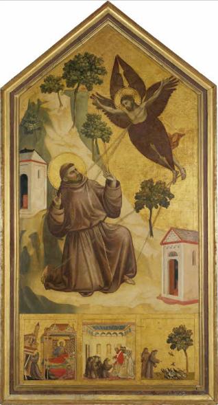 Saint François d'Assise recevant les stigmates, Peinture sur panneau de bois -3,13m x 1,63m, vers 1295-1300, Musée du Louvre.