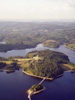 Vue aérienne de l'île.