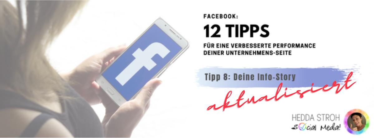 Facebook-Business-Seite ➡ Tipp 8: Deine Info-Story