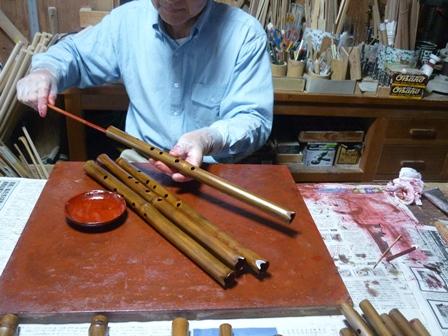 オリジナル尺八・ケーナ 朱漆塗り