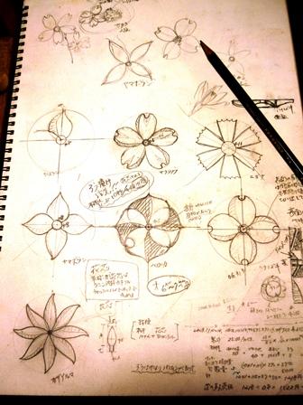 花のブローチ デザイン画