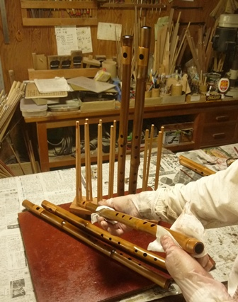 オリジナル横笛D管漆塗り中