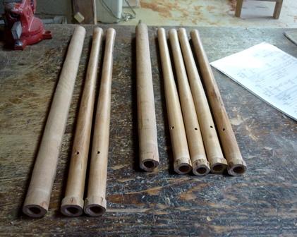 オリジナル横笛(木製管)外形ターニング仕上げ前と後