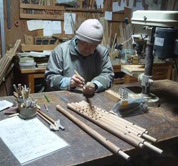 オリジナル横笛(木製管)G管F管 指孔あけ