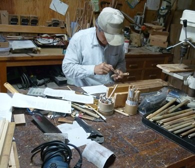 竹のオリジナルリコーダー製作中
