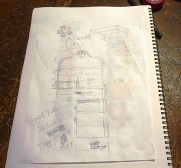 孫娘と一緒にアイディアや希望を聞きつつ二人で書いた図面