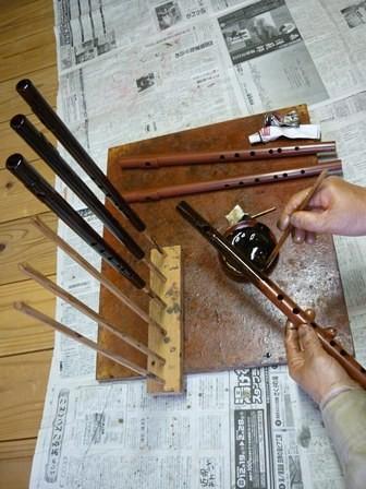 オリジナル横笛漆塗り作業