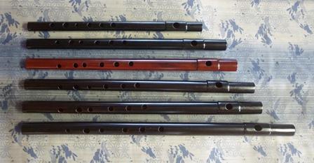 オリジナル横笛女竹 本漆根来調塗り・D(high)管・C管・B管・B♭管・A管・G管