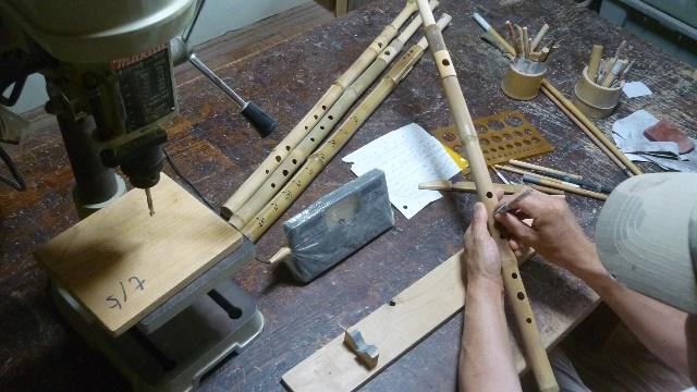 オリジナル横笛D管真竹製製作中