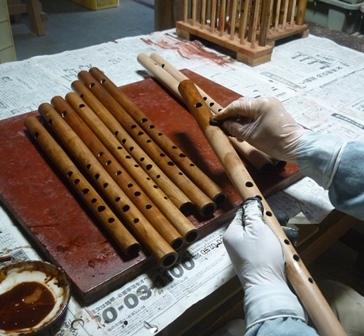 オリジナル横笛木製管 下地漆塗り