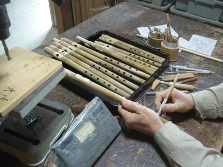 オリジナル横笛B♭管とD管(high)を製作中