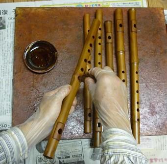 オリジナル横笛真竹管指孔朱漆塗り