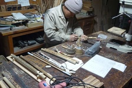 オリジナル横笛純正律管製作中