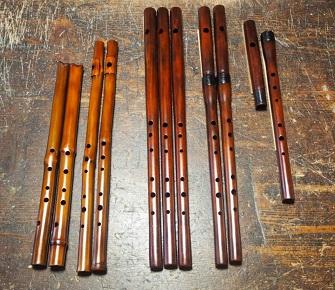 4種製作完了 尺八 真竹製横笛 木製横笛 木製横笛継ぎ管