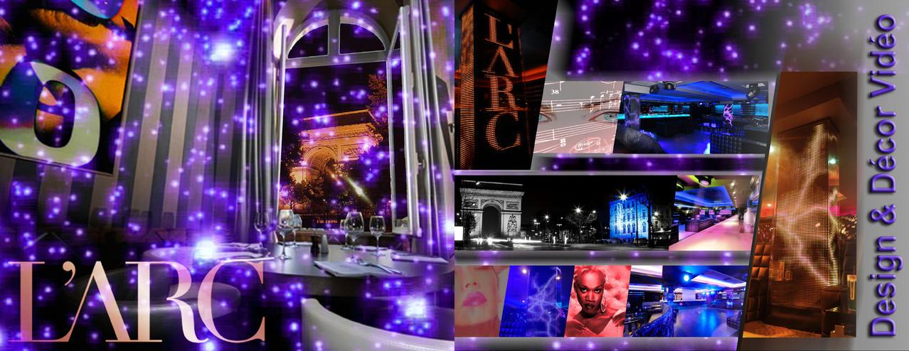 Decor Vidéo de la Discothèque L'ARC à Paris (Réalisation en continue de la banque d'image video) / Conception technique : Colorsonic Gérard Giraudon
