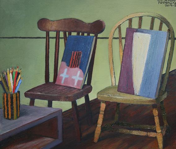 抽象画家の部屋/oil on canvas 455x530