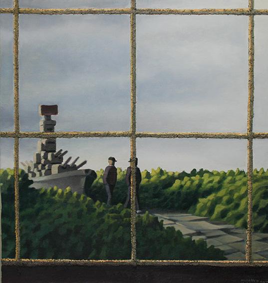 軍艦の見える風景/oil on canvas 803x803