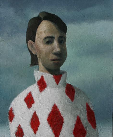 ダイヤ柄のセーターの男/oil on canvas 455×380