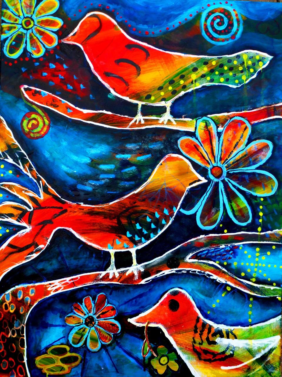 Happy (Acrylfarbe und -tinte auf Leinwand 60x80cm)