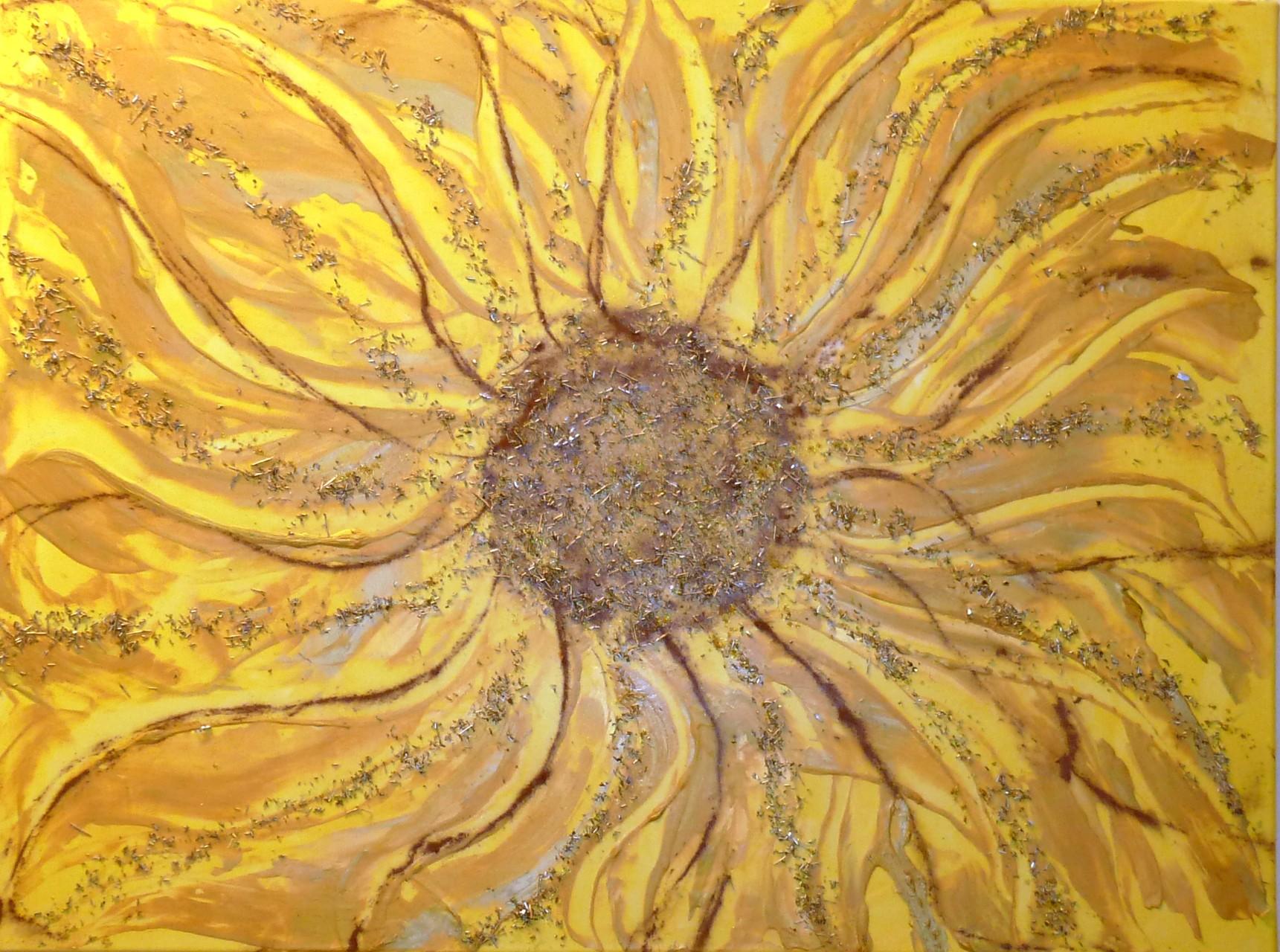 Sunflower (Assemblage auf Leinwand 80x60cm)