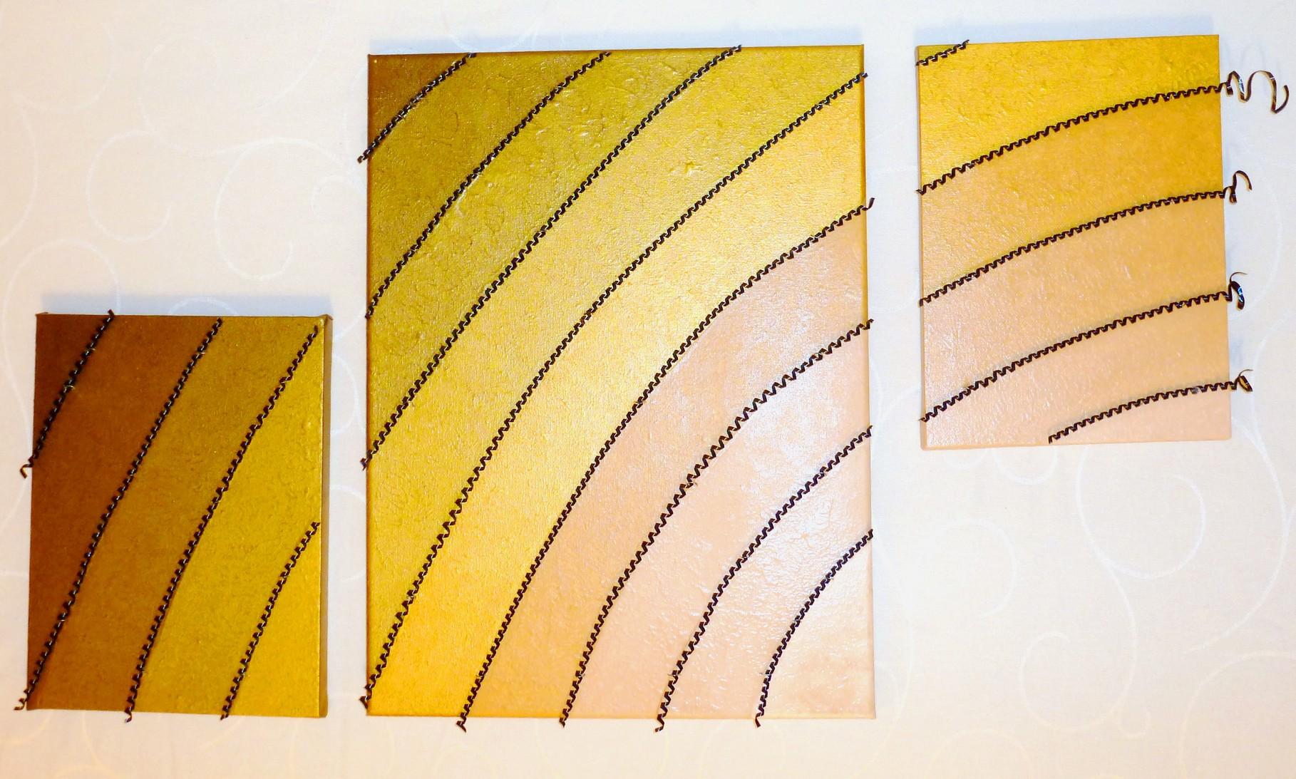 Arabian Rainbow (Triptychon, Assemblage auf Leinwand 20x30cm, 40x50cm, 20x30cm)