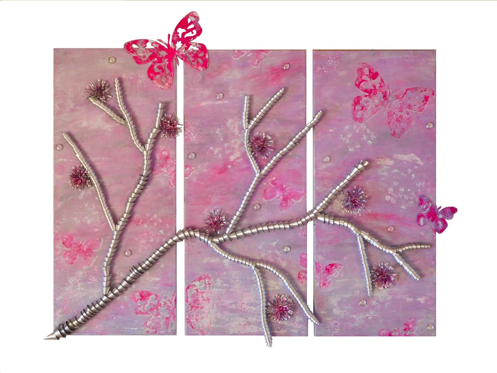 Kirschblütensommer (Triptychon, Assemblage auf Leinwand 3x 30x70cm)