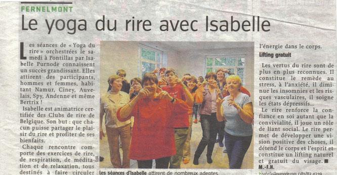 Le yoga du rire avec Isabelle - article- Vers l'avenir (2013)